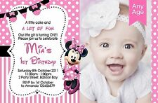 Personalised Mickey Minnie Mouse Birthday 1st, 2nd 3rd Invitations Photo invites