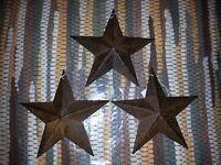 """3 Rusty 5.5"""" Primitive Metal Barn Star - Stars, Ornaments, 5-1/2"""", Rustic, New"""
