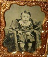 Very nice 1/6th size Tintype Of young boy looking at camera in a brass frame
