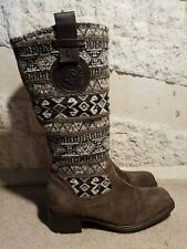 MARC Germany Ladies Suede Fabric Aztec Tapestry Faux Fur Lined Boots UK 6  EU 39