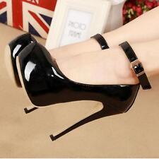 Women Ankle Buckle High Heels Stiletto Platform Pumps Patent Leather Shoes US8