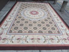 Old Hand Made French Design Wool Beige Green Original Large Aubusson 430X303cm