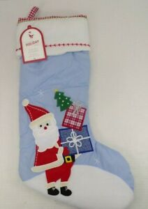 """Pottery Barn Kids Santa w/ Presents Quilted Christmas Stocking 11x20"""" Blue #8984"""