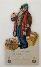 1930s Santa -Like Peddler with Soap Die Cut Unused Christmas Card Vintage