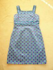 Michael Kors sleeveless knee length dress Blue cotton sateen Jewel trim UK 12