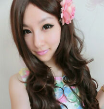 Korean Style Light Brown Women Full Long Curly Wavy Wigs Cosplay 65cm New