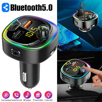 Bluetooth 5.0 Car FM Transmitter MP3 Wireless Adapter Aux Radio 3 USB Charger