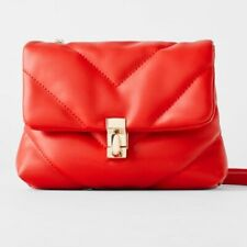 NWT Zara RED Quilted Mini Crossbody Bag Faux Leather - New with Tags