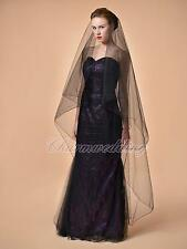 1T Black Cathedral Length Wedding Bridal Veil Gothic Veil 130207