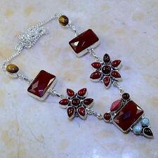 "Handmade Natural Carnelian Jasper 925 Sterling Silver Necklace 20.75"" #J89511"