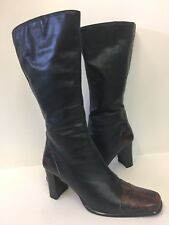 Gil Peterson Black Knee High Boots Snakeskin Heels Toes Size 8.5