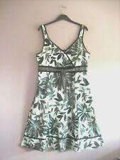 Per Una Sz 18 Black Grey Cream Floral Cotton Print Wide Strap Fit + Flare Dress