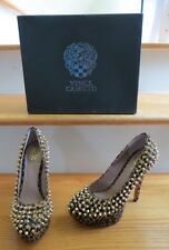 VINCE CAMUTO MADELYN SPIKED SPOTTED BROWN CHEETAH PRINT STILETTO HEELS =SIZE 6.5