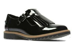 Clarks Women/Girls Griffin Mia WIDE FIT Black Leather Office/School Shoe UK 2.5E
