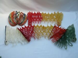 Vintage Yuletide Christmas decorations honeycomb paper streamers garlands