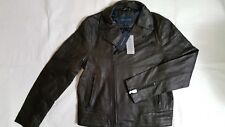 NEW TOMMY HILFIGER MENS FALL BASIC BROWN LEATHER MOTO...