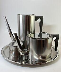Arne Jacobsen Stelton Midcentury Modern Cylinda Stainless Steel Coffee Tea Set