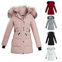 Long Faux Fur Trim Hood Belted Quilted Womens Jacket Puffer Coat Size UK 8 - 16