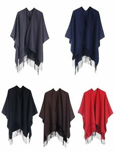 Ladies Plain Poncho With Tassel One Size Super Soft Warm Shawl Wrap Cape