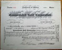 Mining - 'Consolidated Gold Corporation' 1928 Stock Certificate