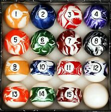 Pool Table Balls Custom Marble Swirl Style Billiard Game Room Cue Size Weight