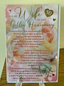 For My Wife On Our Golden Wedding Anniversary 50 yrs Gold Foil Premium Quality