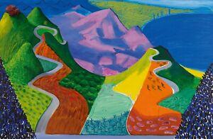 "David Hockney  Pacific Coast Highway & Santa Monica  Canvas Wall Art ""20x30"""