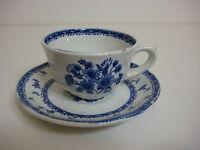 Vintage Arabia Finland Pristine Old Blue Finn Flower Tea Cup & Saucer Set