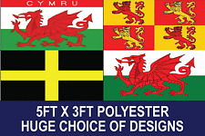 5ft x 3ft WELSH FLAG WITH EYLETS PREMIUM QUALITY CHOSE YOUR DESIGN