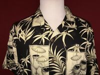 Caribbean Joe Let Go Black & White Rayon Hawaiian Aloha Camp Shirt Mens Large