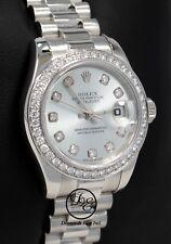Rolex Datejust President Platinum 179136 Factory Diamond Dial Bezel BOX/PAPERS