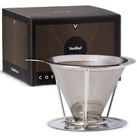 VonShef Coffee Filter Dripper Pour Over Stainless Steel Funnel Reusable