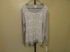 NWT Liz Claiborne Womans L/S Crew Neck Sweater-Color-Grey-Size-1X