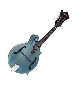 Ozark Mandolin F Model Semi Gloss Transparent Blue Finish with Gig Bag 2355BU