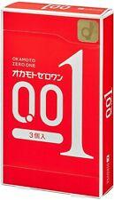 OKAMOTO ZERO ONE 001 Ultra thin Condom 3pc Made in Japan - CANADIAN SELLER