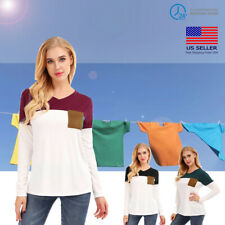 Long Section Women V-neck Long-sleeved T-shirt With Special Color Patchwork US