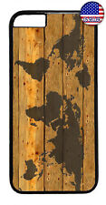 World Map Wood Style Rubber Case Cover For iPhone 8 7 Plus 6 5 4 X