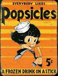 "TIN SIGN ""Popsicle Girl""  Dessert Vintage    Garage Wall Decor Kitchen Summer Po"