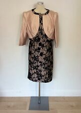 CONDICI LIGHT PINK SILK & BLACK LACE DRESS & JACKET SIZE 20