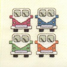 Textile Heritage Campervans Counted Cross Stitch Card Kit
