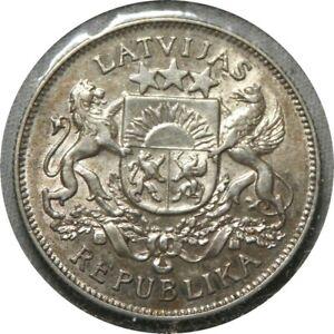 elf Latvia 1st Republic 2 Lati 1926   Silver