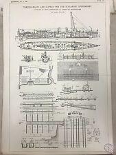 Torpedo Boats And Slipway For Bulgarian Govt.: 1908 Engineering Magazine Print