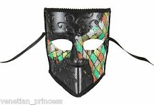 Men's Venetian Bauta Masquerade Mask Mardi Gras Green Checker MKR001B BRAND NEW!