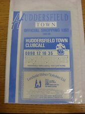 1989/1990 Huddersfield Town: Official Shopping List - Souvenir Shop Price List.