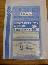 1989/1990 Huddersfield Town: Official Shopping List - Souvenir Shop Price List.