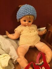 "Rare! Vintage Horsman Doll Cloth Vinyl 24"" Blue Eyes Blonde Hair Lots of Clothes"