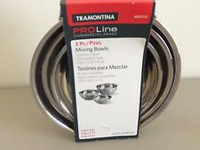 Tramontina ProLine Commercial Grade 3 Pc Stainless Steel Mixing Bowls 3, 5, 8 Qt