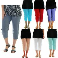 New Womens Plus Size 3/4 Cropped Stretchy Capri Pants Shorts Trousers