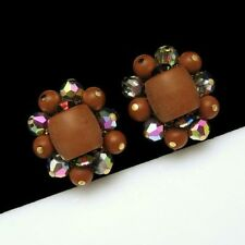 Made with Swarovski Vitrail AB Crystals Clip Earrings Vintage Chunky Brown Beads