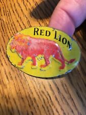 "Red Lion Embossed Tin Tobacco Tag 1 1/8 x 1 3/4"" Vintage Rare Take A Look"